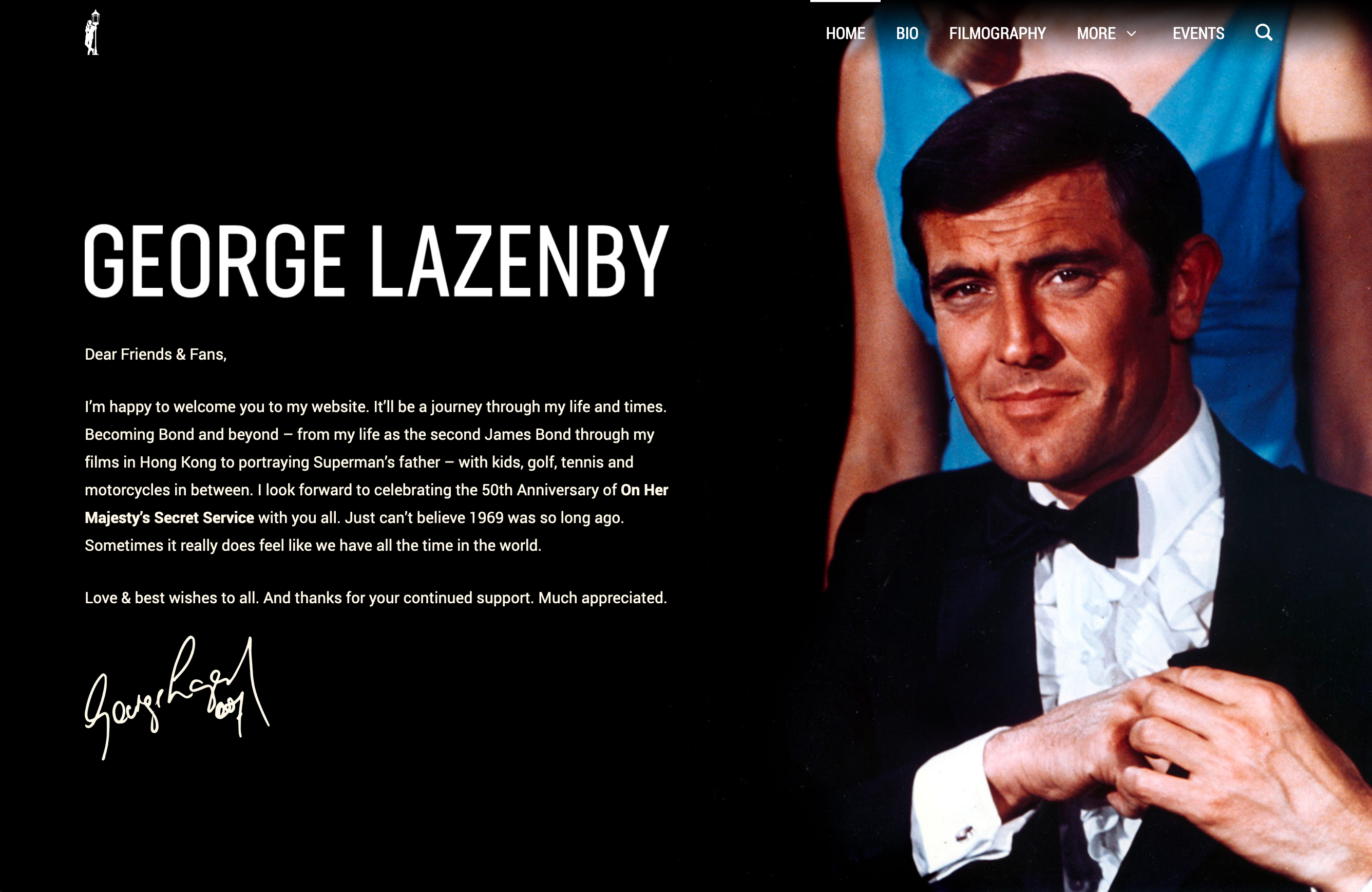 George Lazenby website homepage