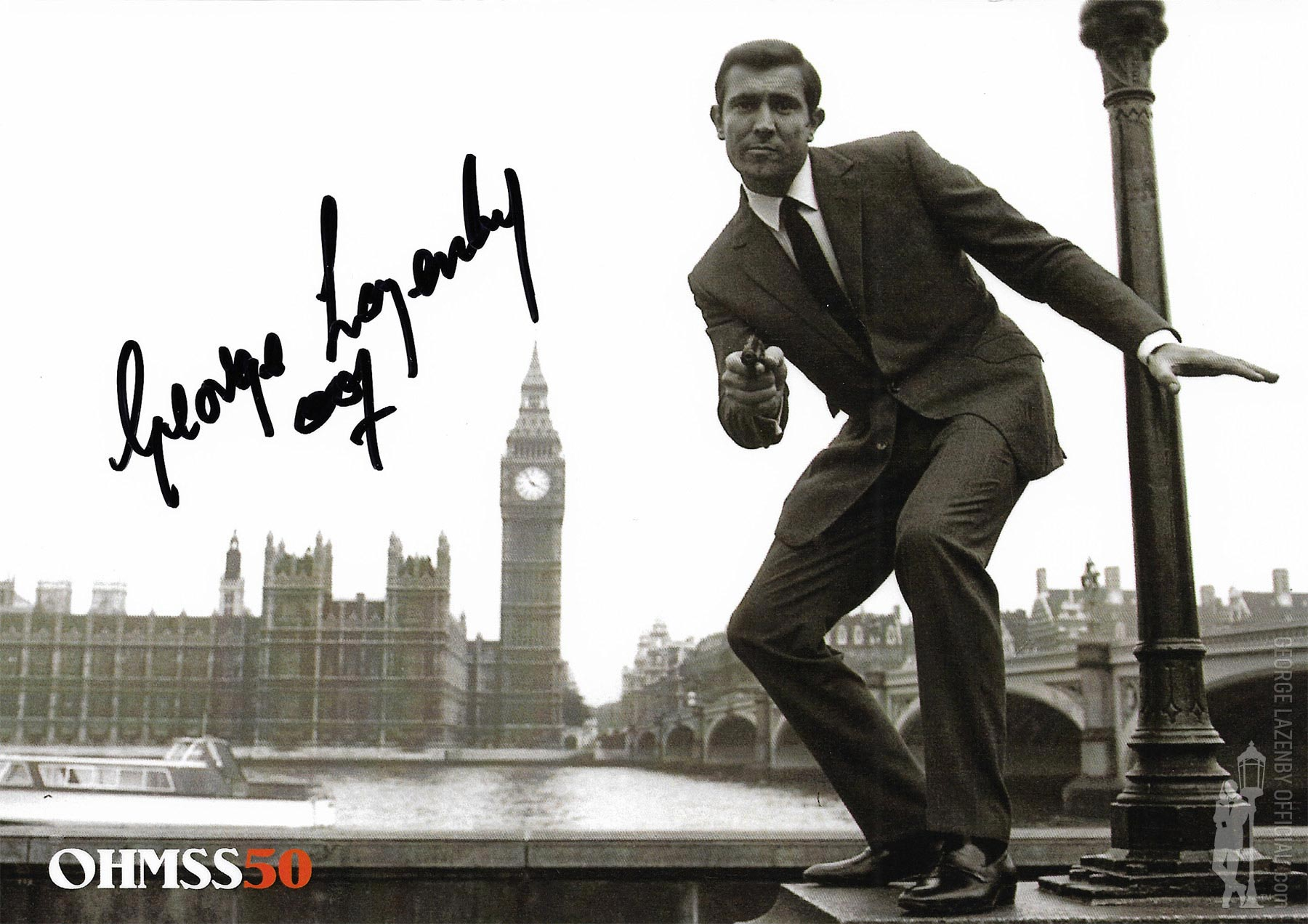 OHMSS 50 George Lazenby signed photograph GLOHMSS50-01
