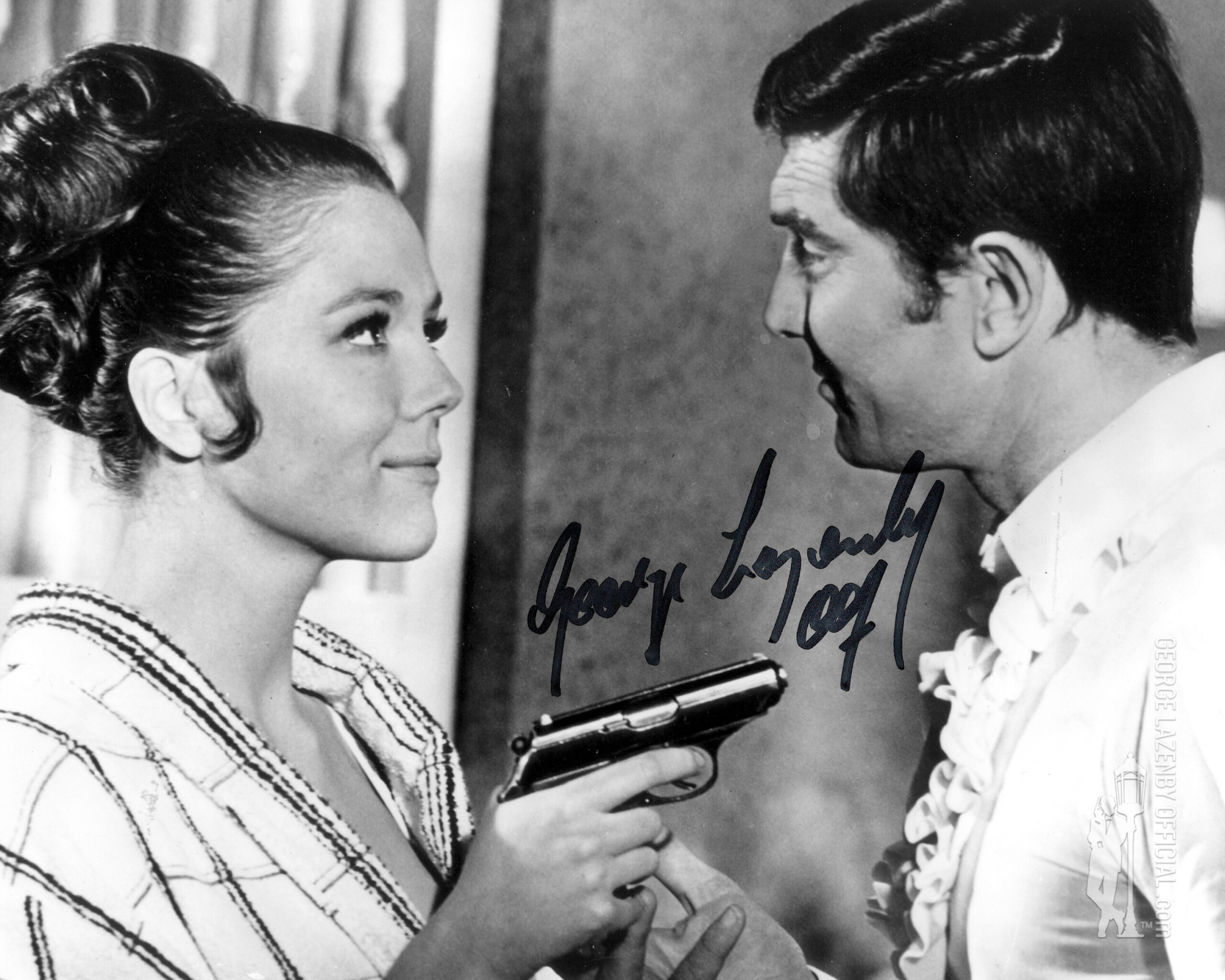 George Lazenby signed photo 14 diana rigg