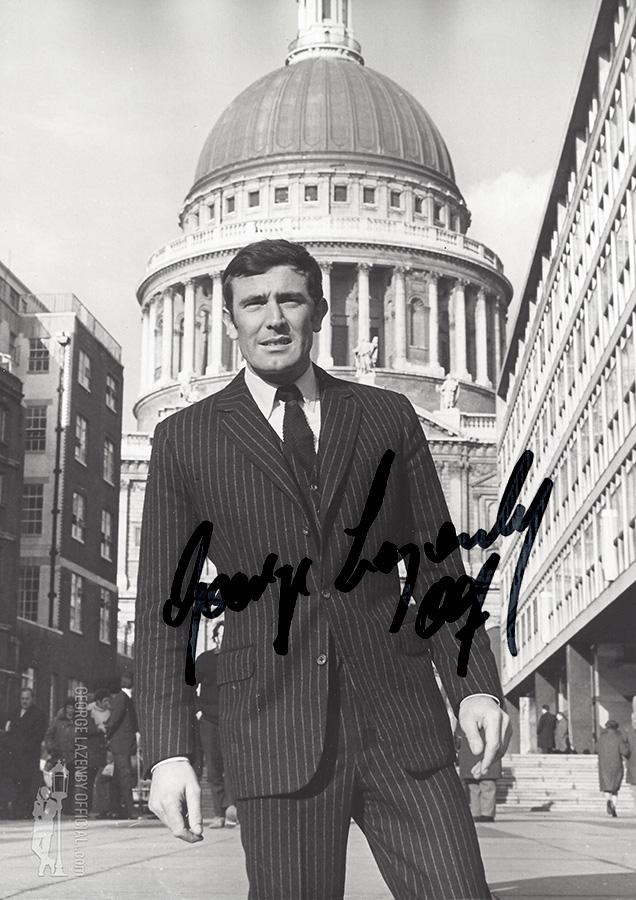George Lazenby OHMSS autograph signature photo London