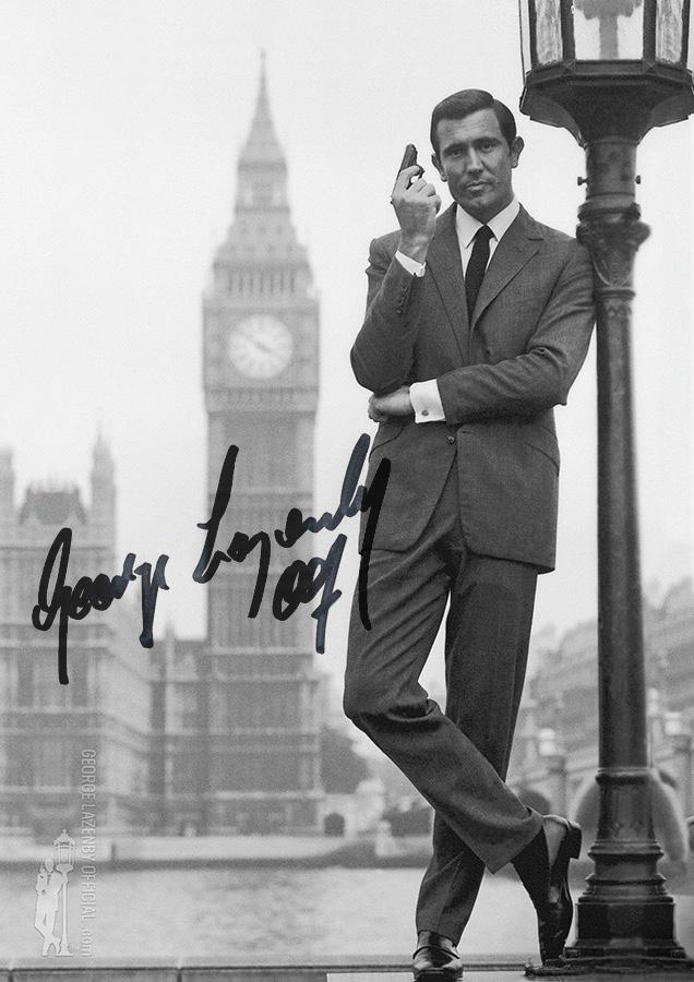 George Lazenby OHMSS autograph signature photo London lamppost big ben parliament