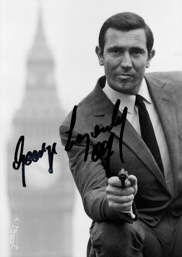 George Lazenby OHMSS autograph signature photo London lamppost big ben parliament walther